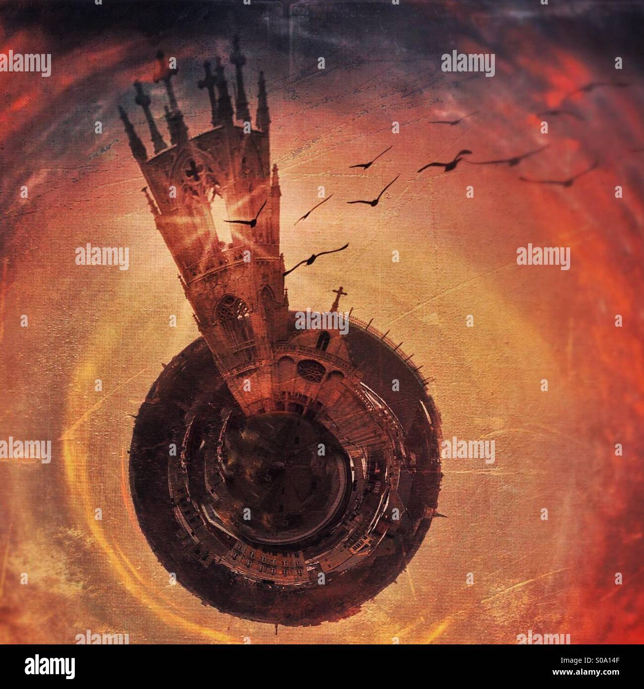 Church tower on a small planet with birds flying out. - Stock Image