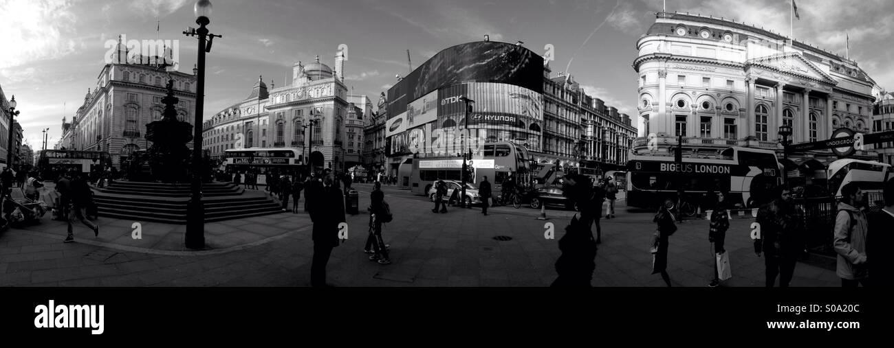 Panorama of Picadilly circus, London - Stock Image