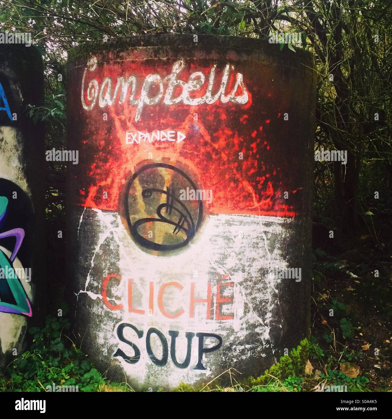 Can of soup art. Graffiti art in the style of a classic tin of soup, cliche flavour - Stock Image