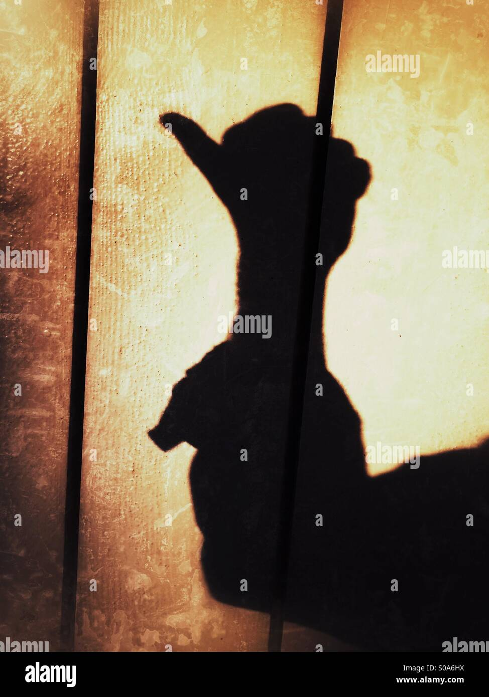 A man casting a shadow on a wall, counting on his hand. Number one. Stock Photo