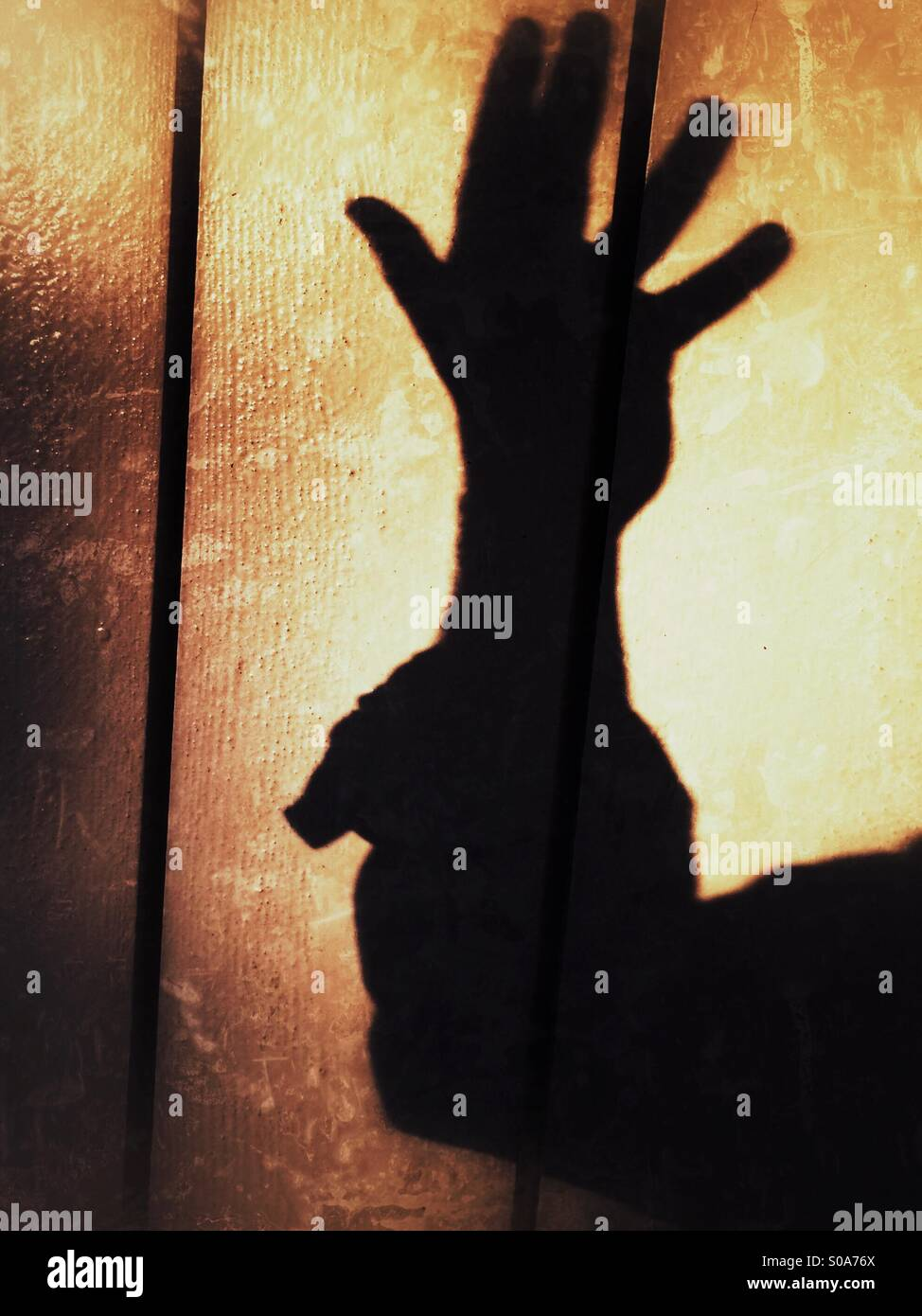 A man casting a shadow on a wall, counting on his hand. Number five. Stock Photo