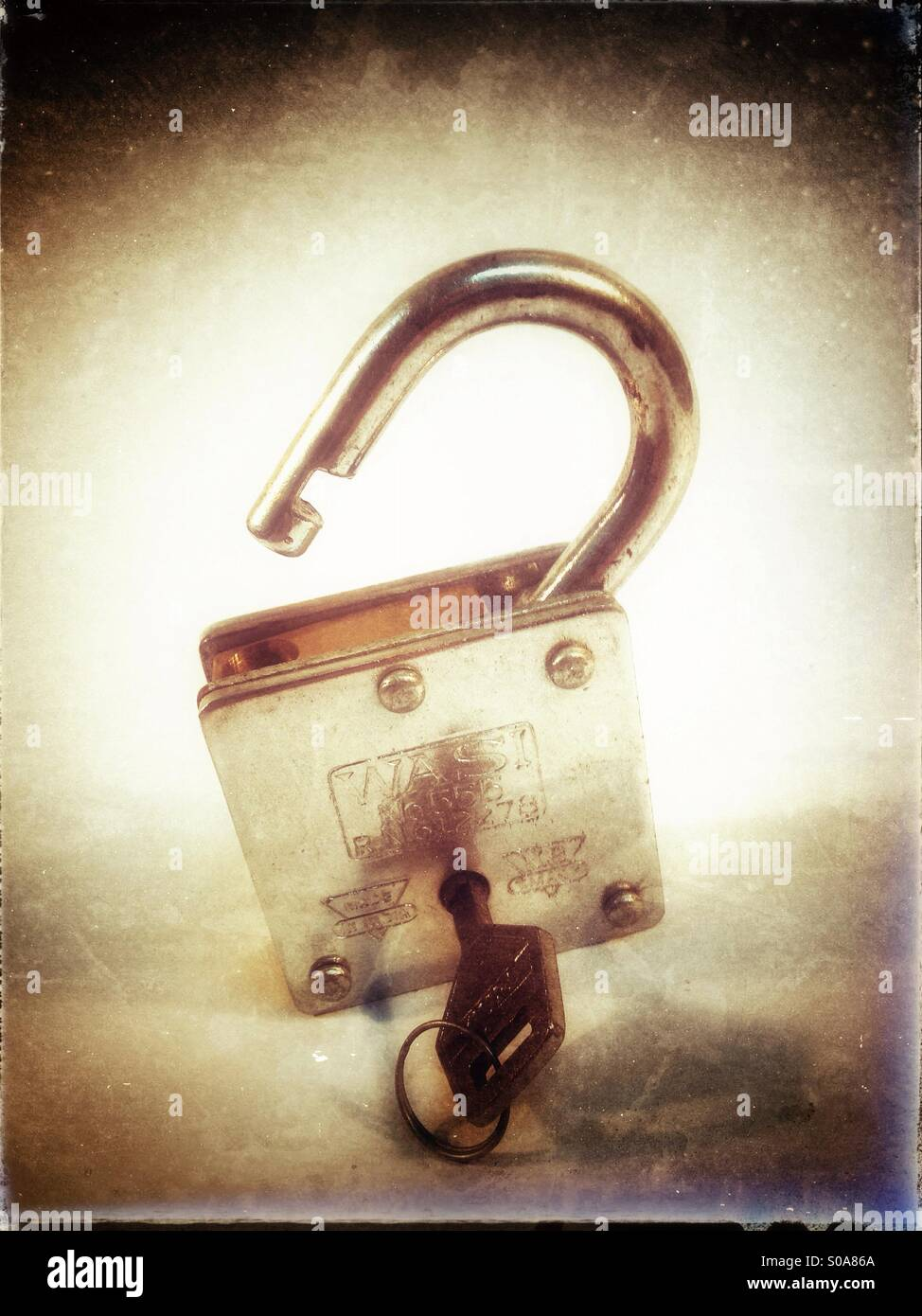 Lock and key. Lock open. Stock Photo