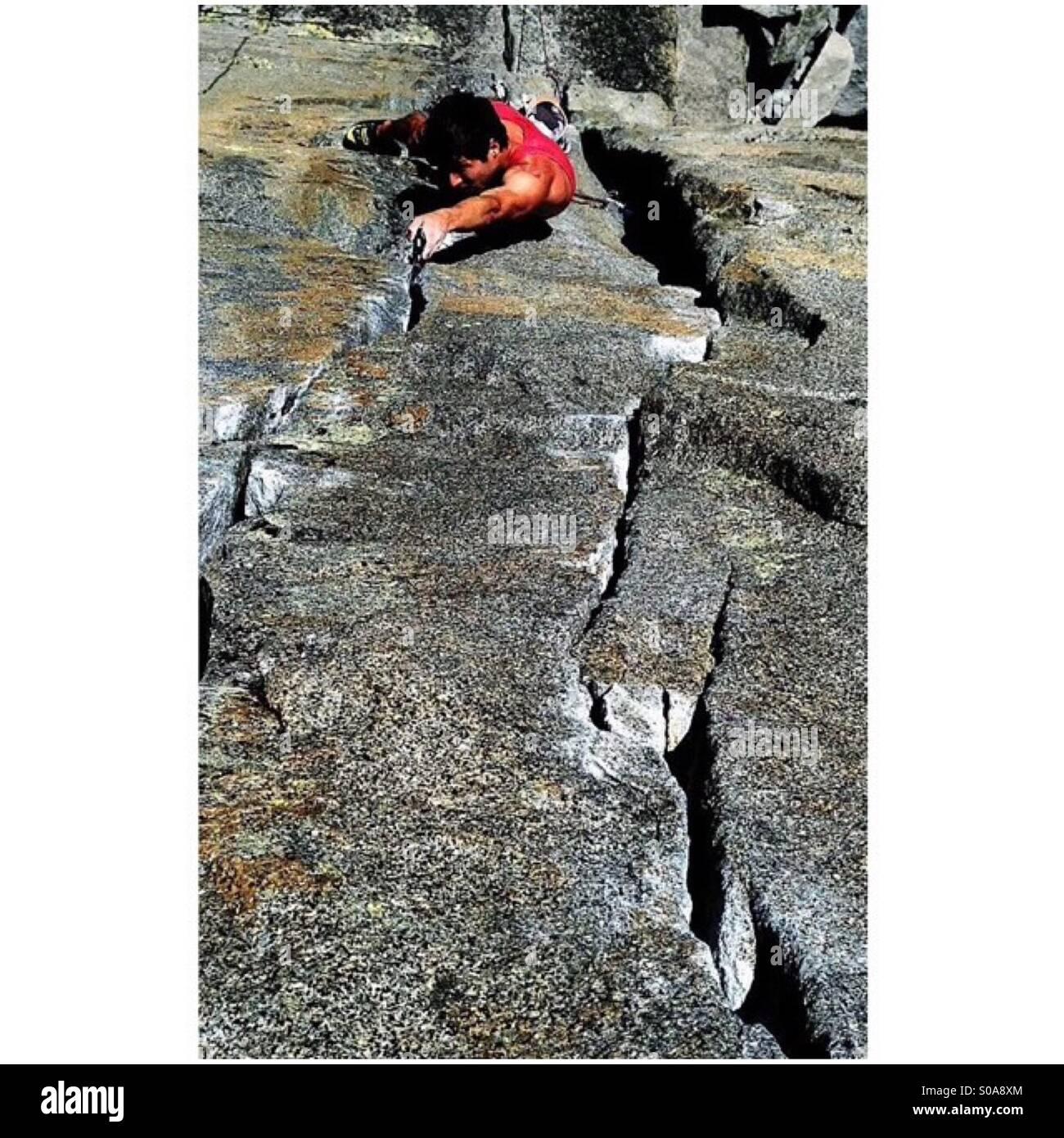 Lake Tahoe trad climbing - Stock Image