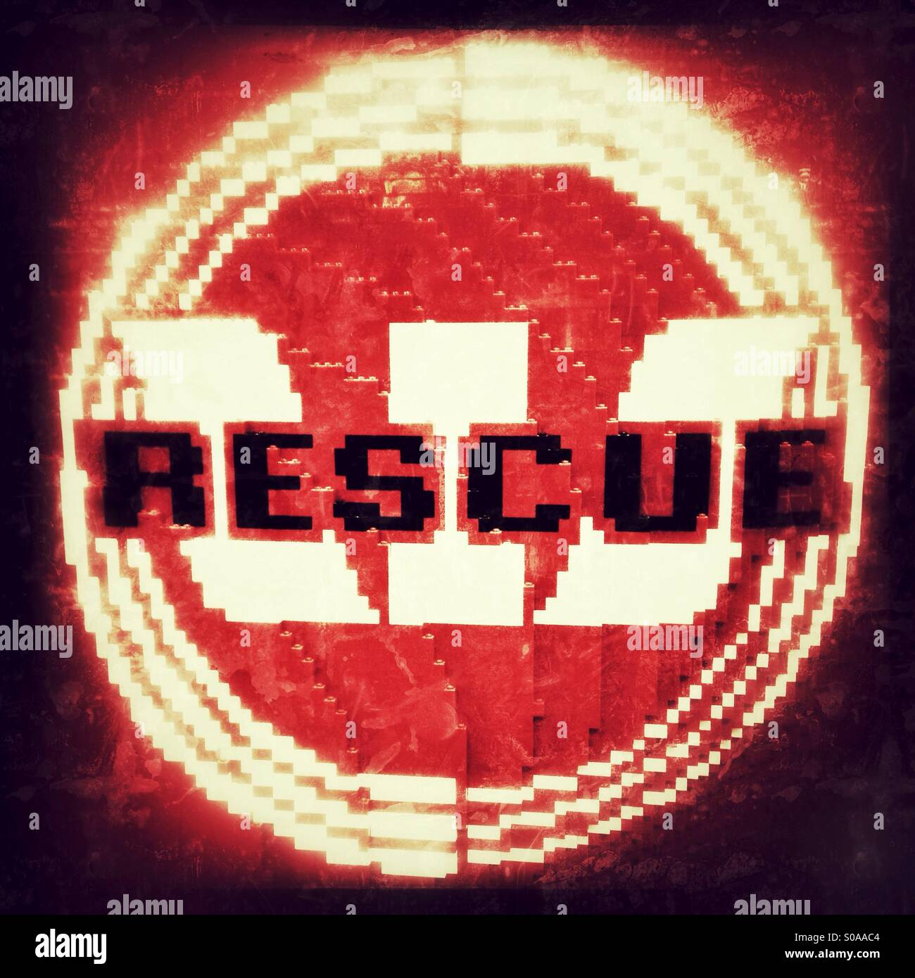 Rescue writings against a Westpac logo made of Lego - Stock Image