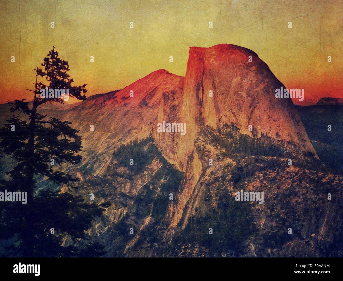 Halfdome at Yosemite National Park. - Stock Image