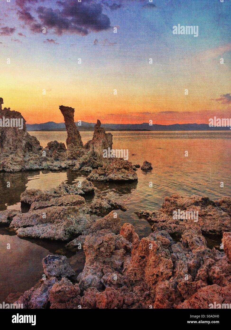 Mono Lake at sunset. - Stock Image