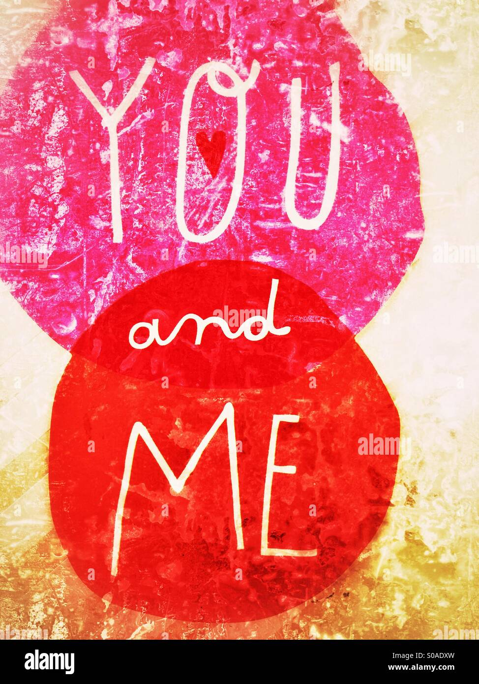 Textured Grungy Valentine S Day Artwork That Says You And Me Stock