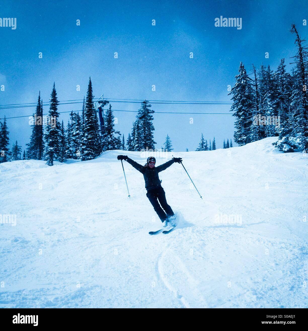 Woman skiing. Stock Photo
