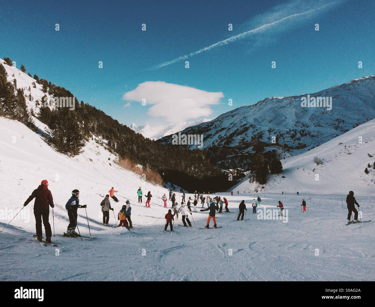 Skiing, Les Arcs, The Alps, France, Europe. - Stock Image