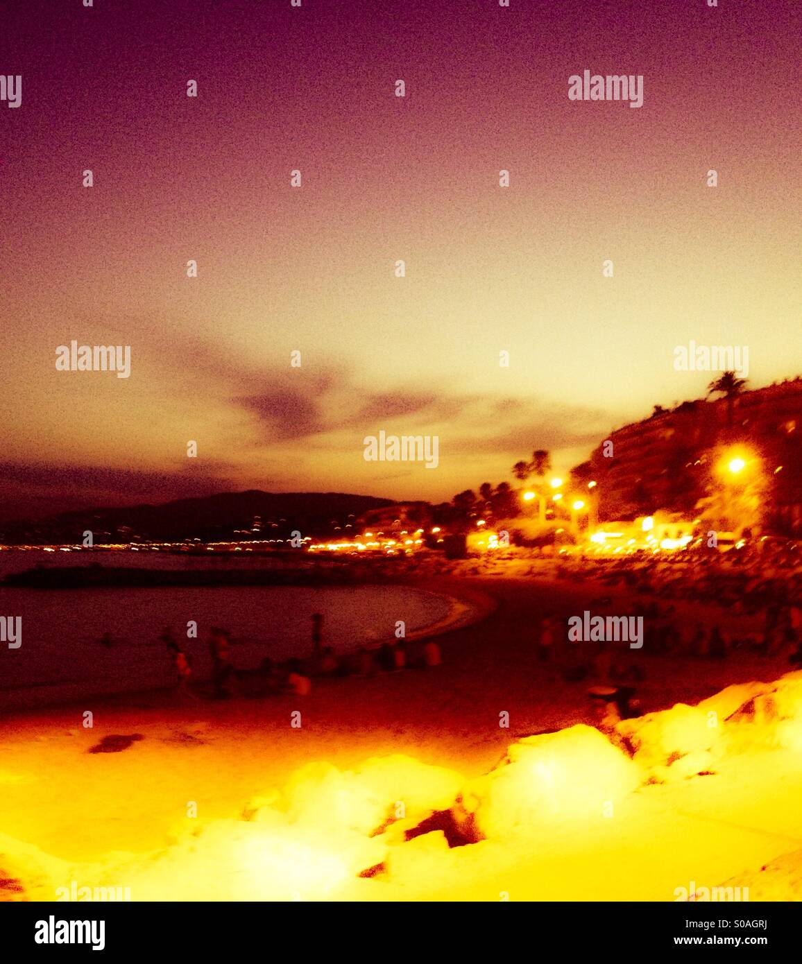 Beach in Cannes. - Stock Image