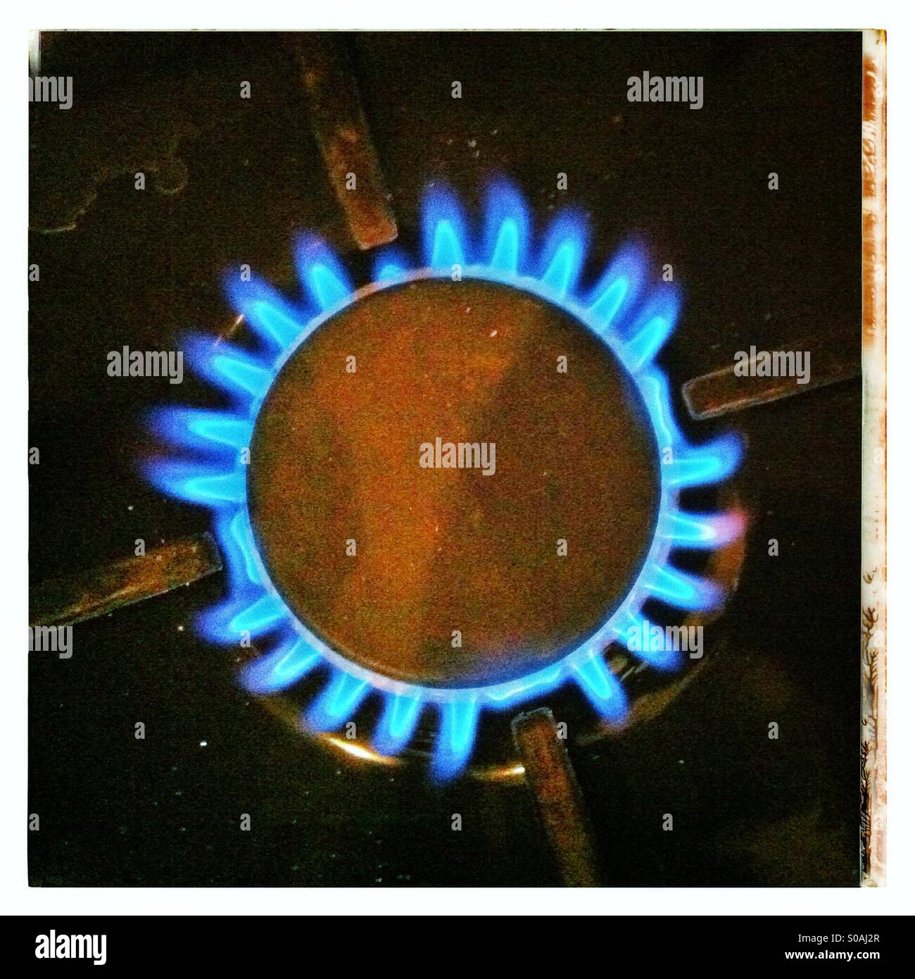 Gas ring on cooker. - Stock Image