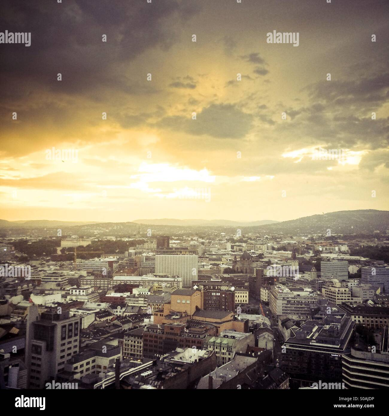 Aerial view of Oslo city skyline, Norway, at sunset - Stock Image