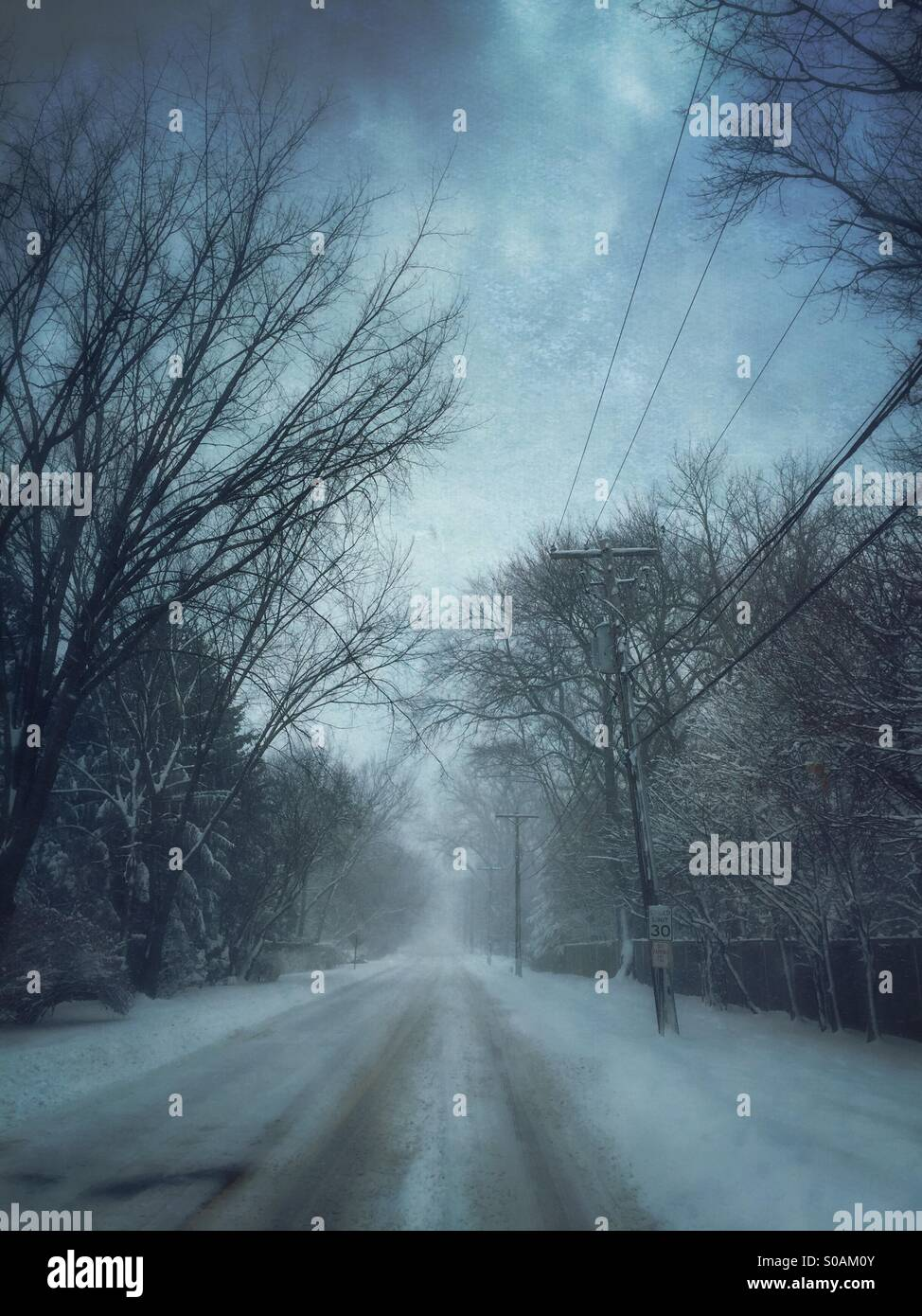 Winter street. - Stock Image