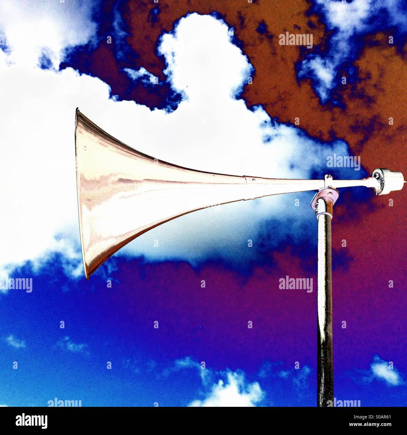 Loudspeaker loudhailer outside - Stock Image