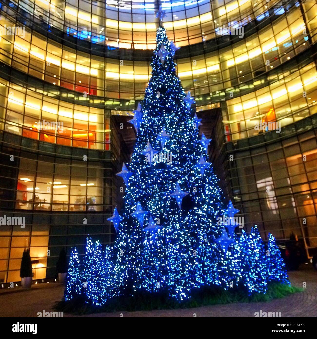 Christmas tree at Bloomburg Building in New York City Stock Photo