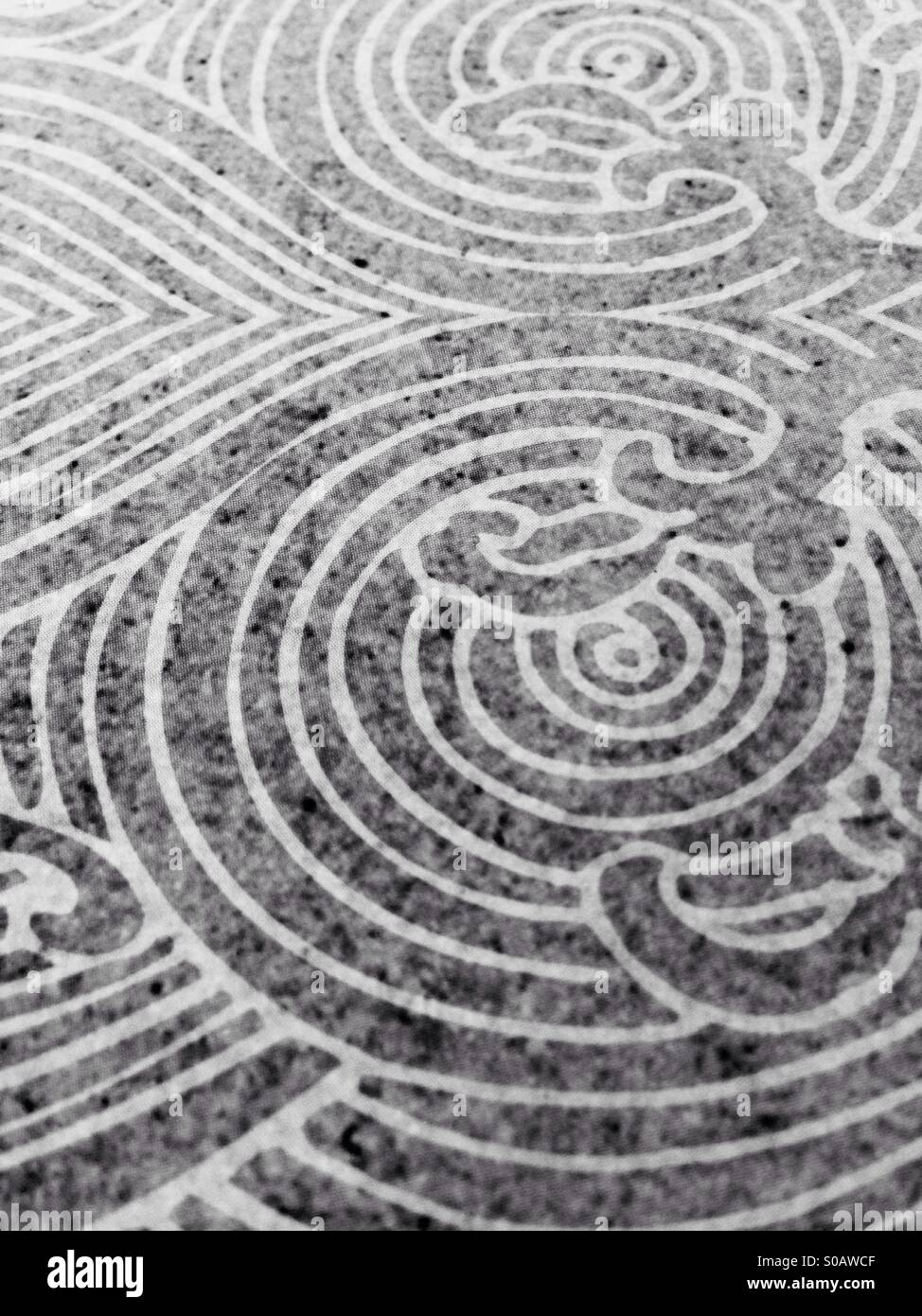 Mazes-motives draws and convert to black and white. - Stock Image