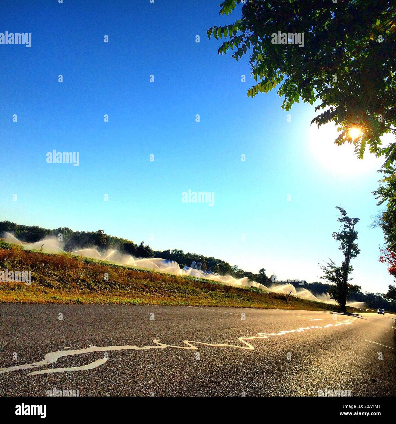 A country road runs alongside a field being irrigated by automatic sprinklers. - Stock Image