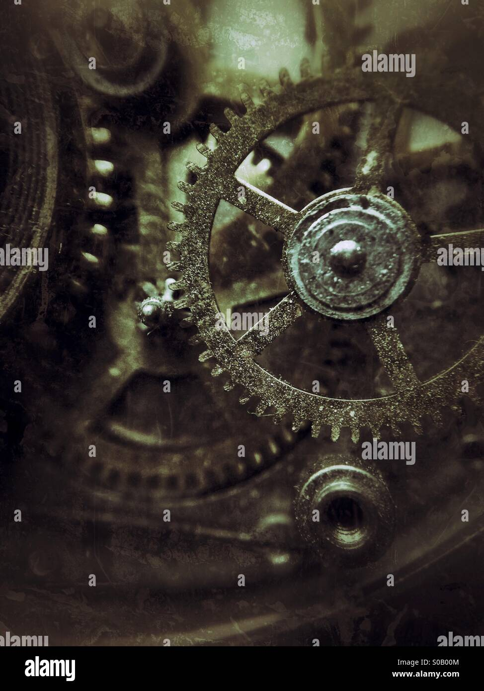 Macro image of pocket watch parts. - Stock Image