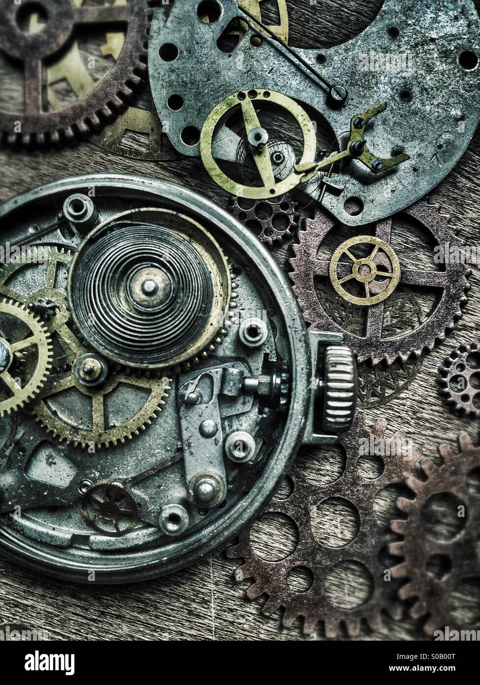 Old pocket watches and gears. - Stock Image