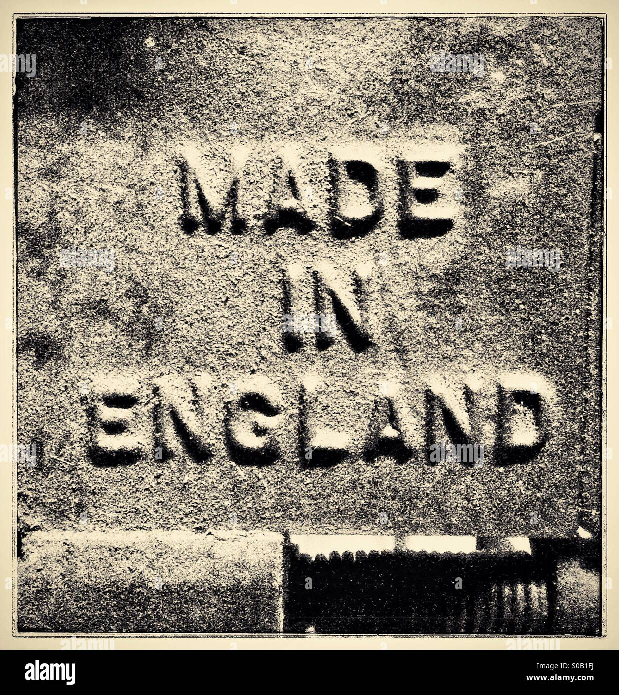Made in England cast on the side of an old metal working vice Stock Photo