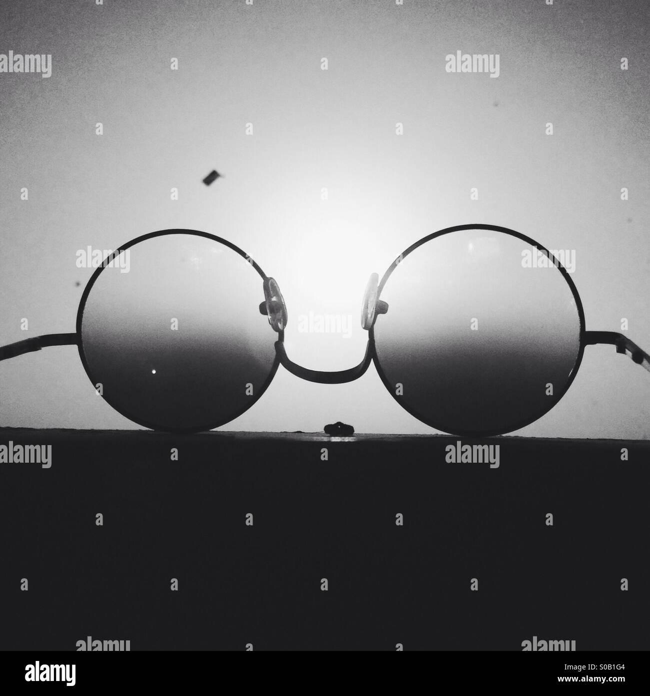 Black vintage sunglass - Stock Image