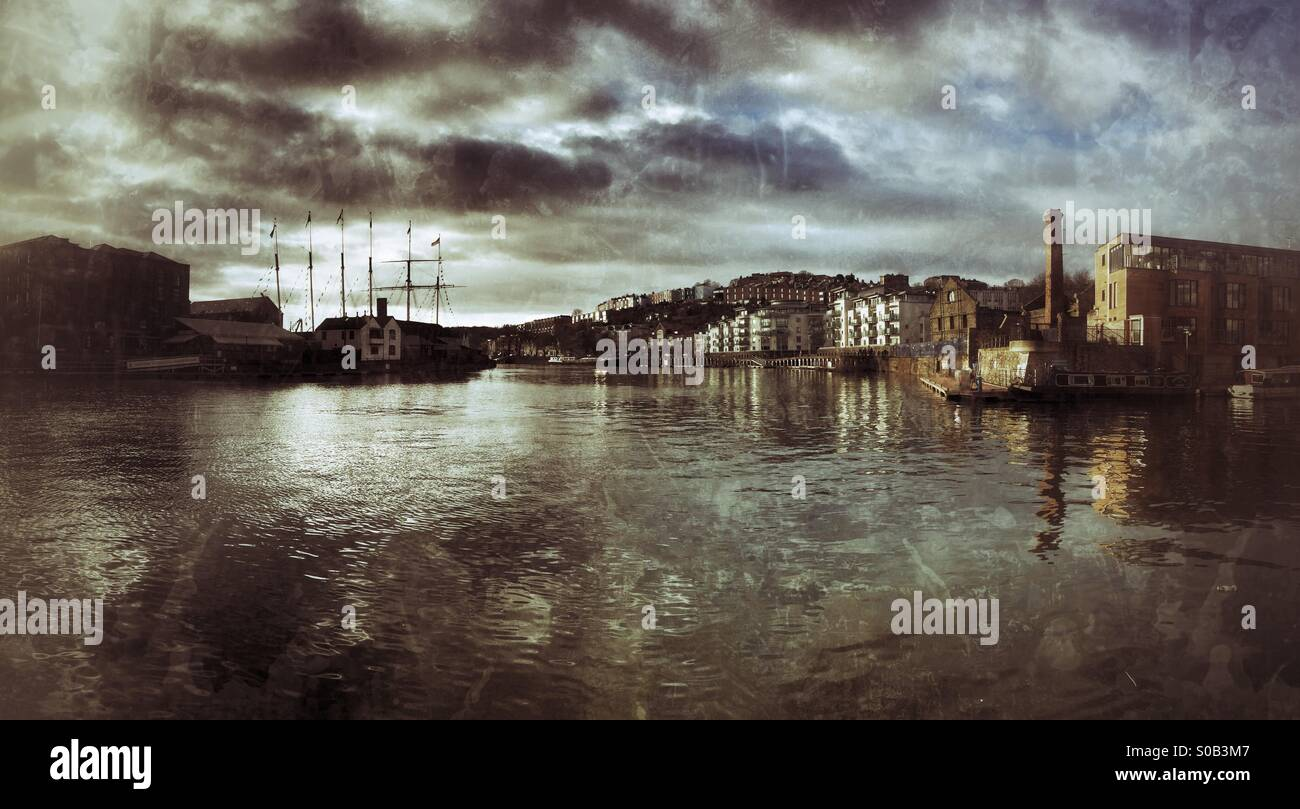 Bristol Docks with the SS Great Britain, Brunel's classic steam ship Stock Photo