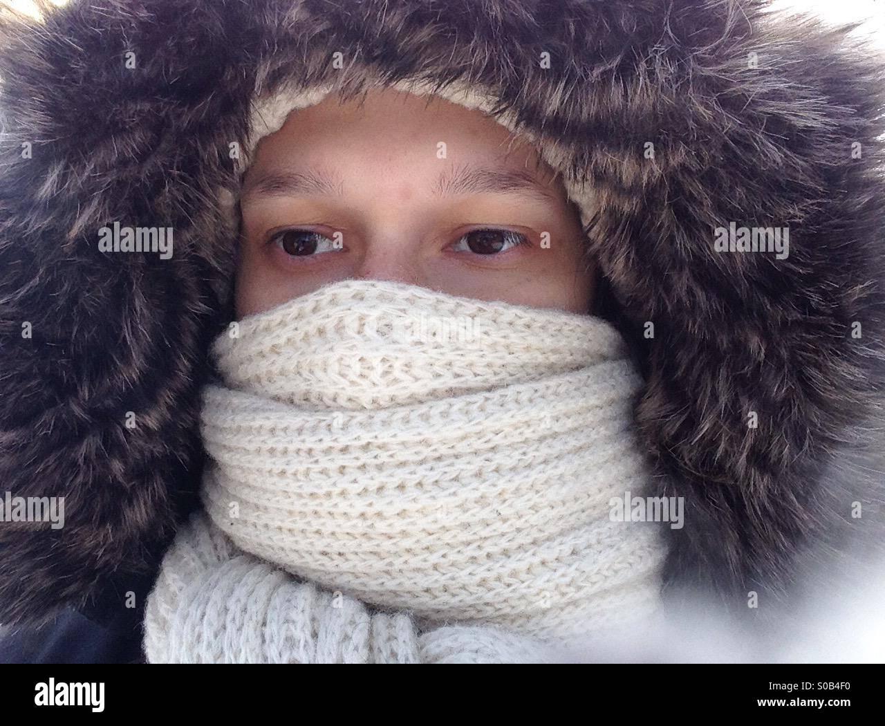 Winter portrait close up - Stock Image