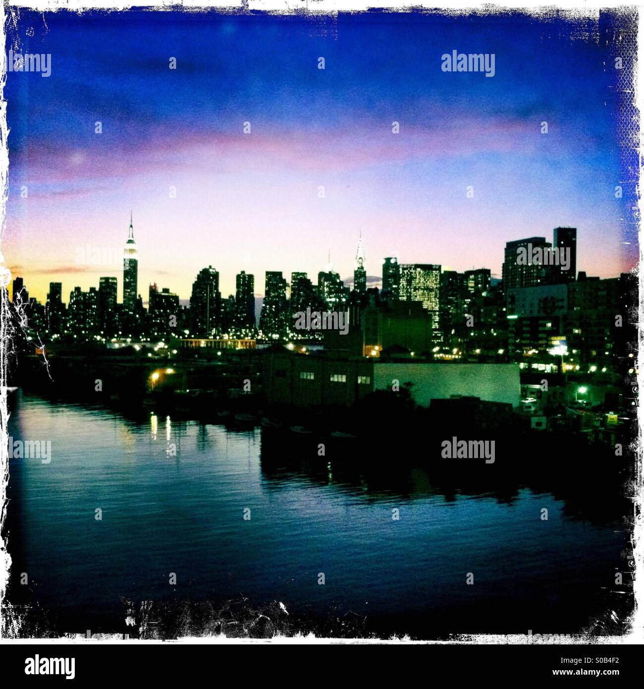 The New York skyline photographed from Greenpoint, Brooklyn, with Bushwick Inlet in foreground. - Stock Image
