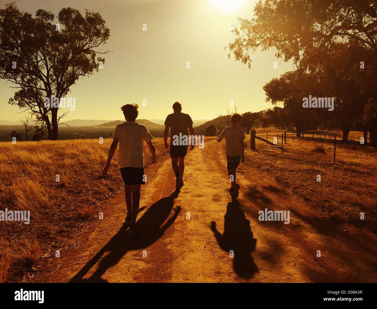 A father and his two sons waking into the sunset in Country Australia - Stock Image