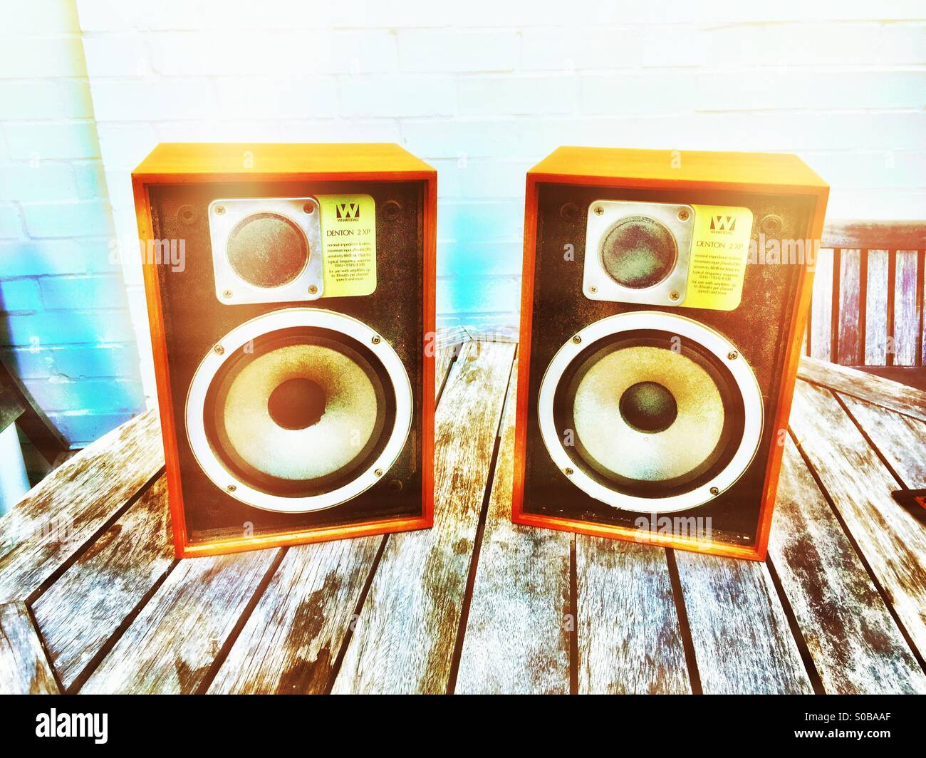 An old pair of English Wharfdale loudspeakers - Stock Image