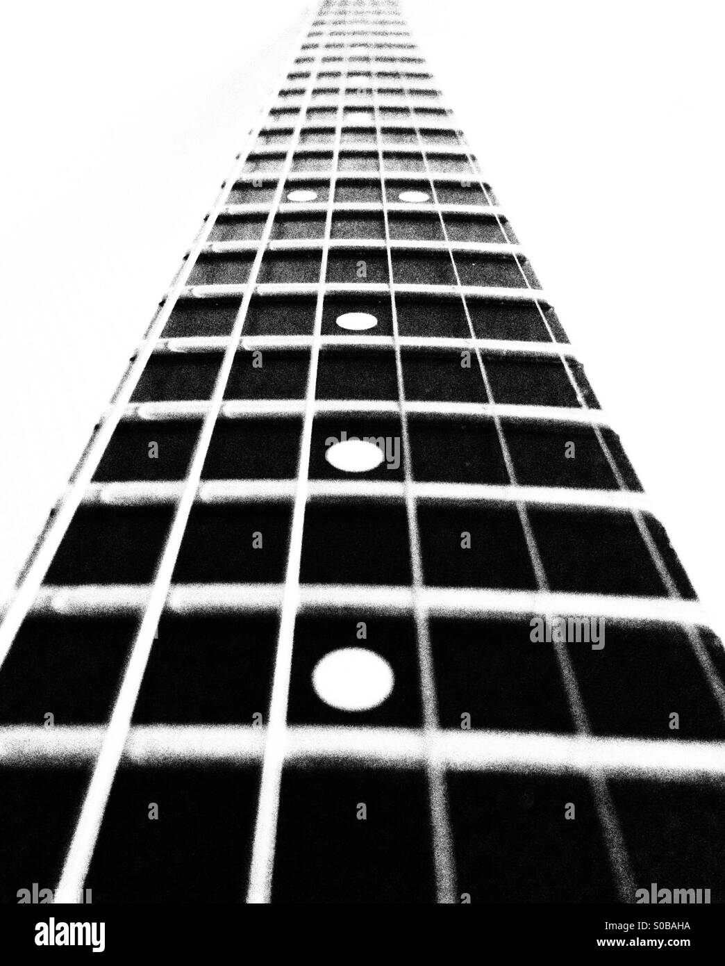 Guitar Fretboard Steinberger GR4 in black and white - Stock Image