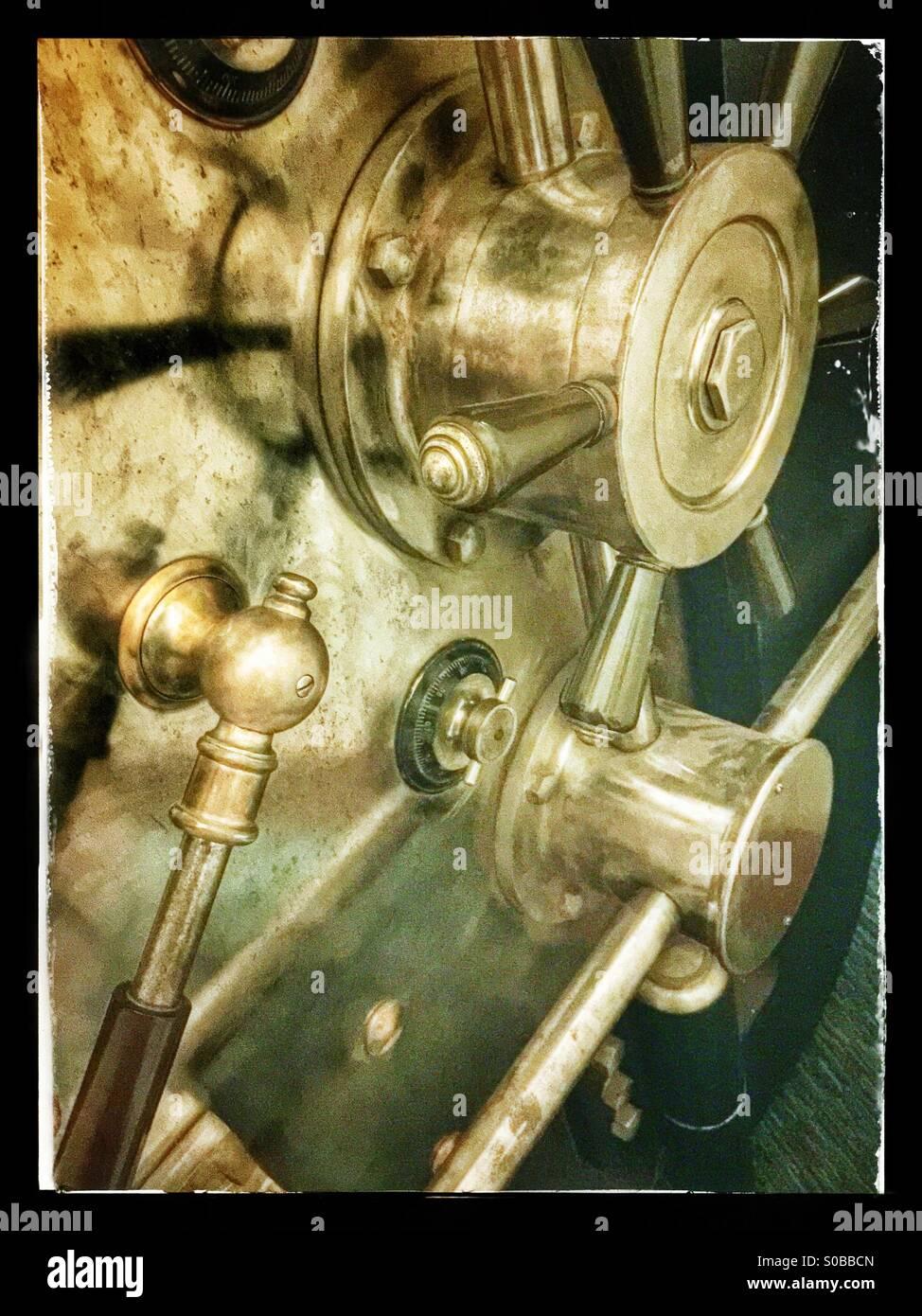 Vault door levers - Stock Image