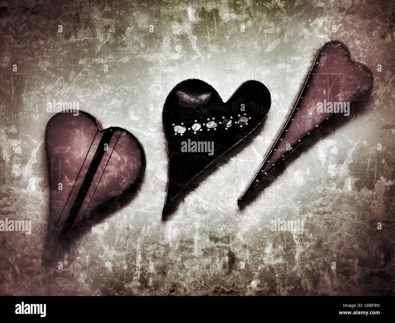 The Three Hearts - Stock Image