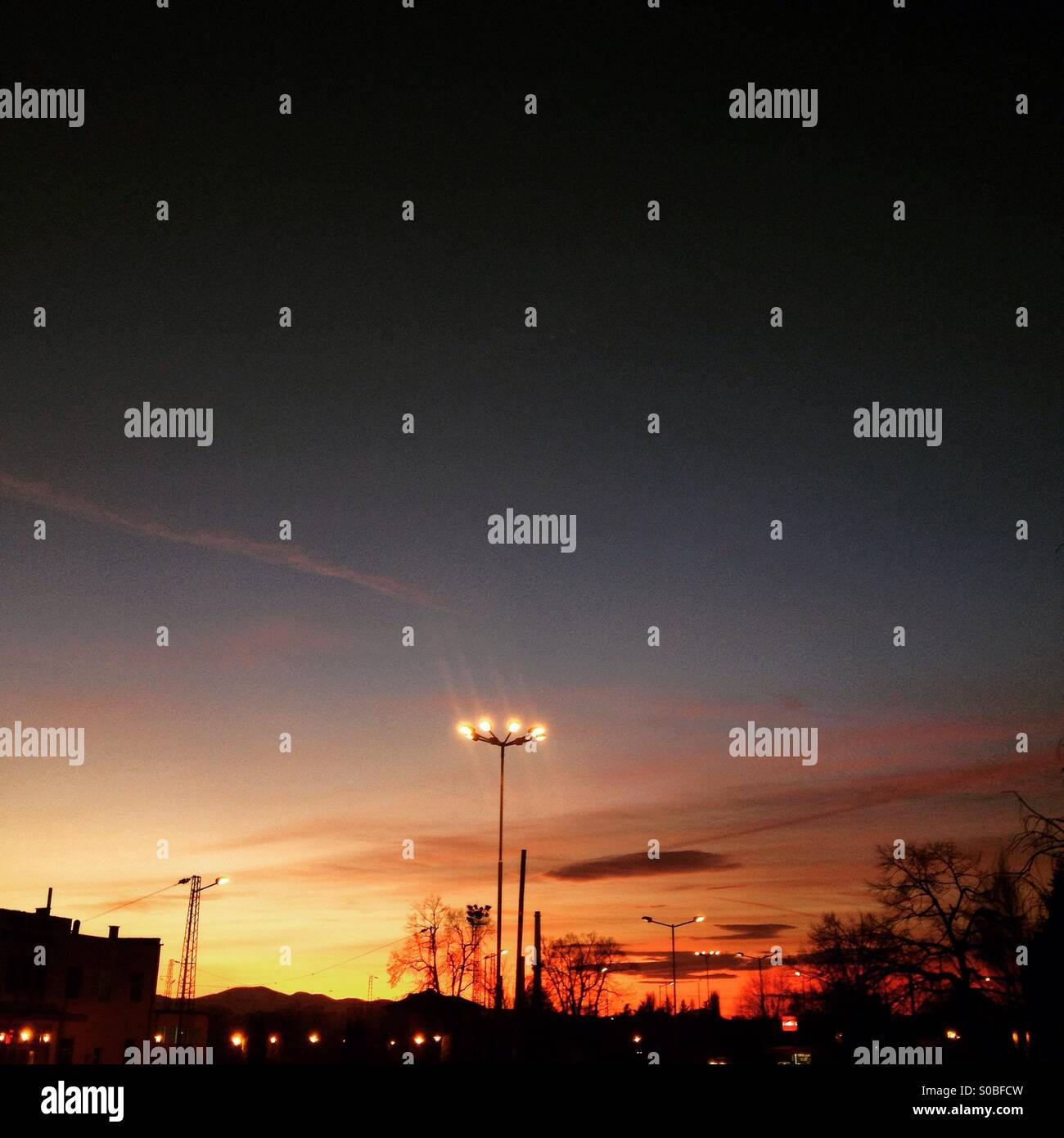 Evening at Kazanlak, Bulgarian town of the roses. - Stock Image