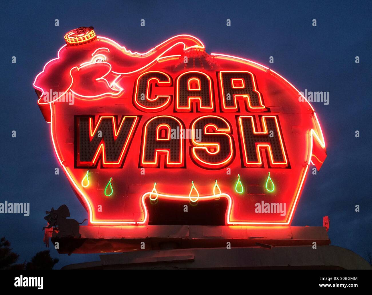 Neon sign, classic, Elephant Car Wash, built in 1956, Seattle, Washington, USA, 2015 - Stock Image