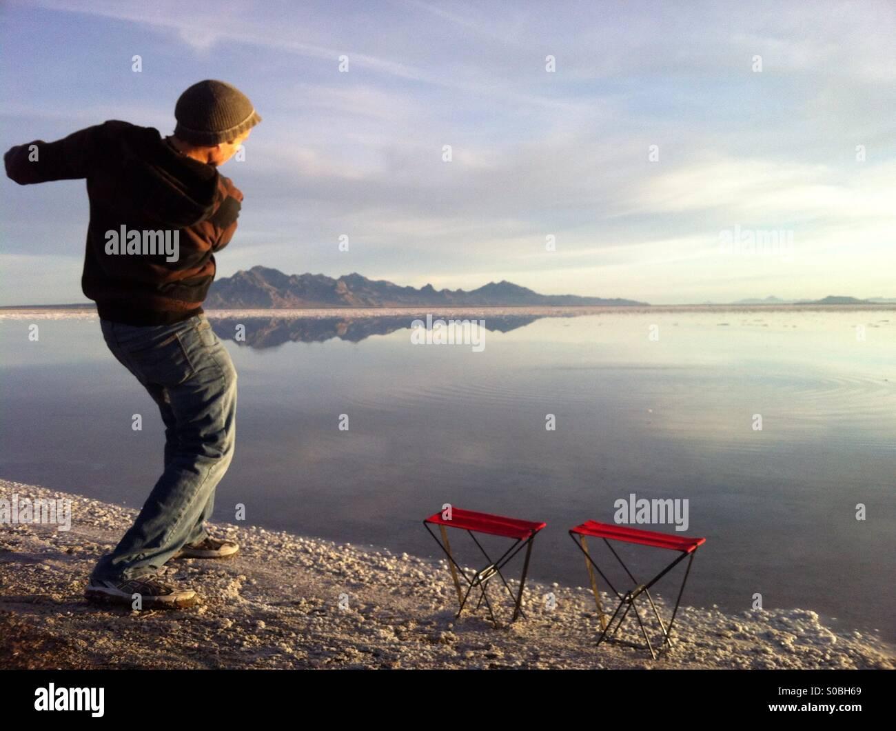 Bonneville Salt Flats Rock Skimming Stock Photo