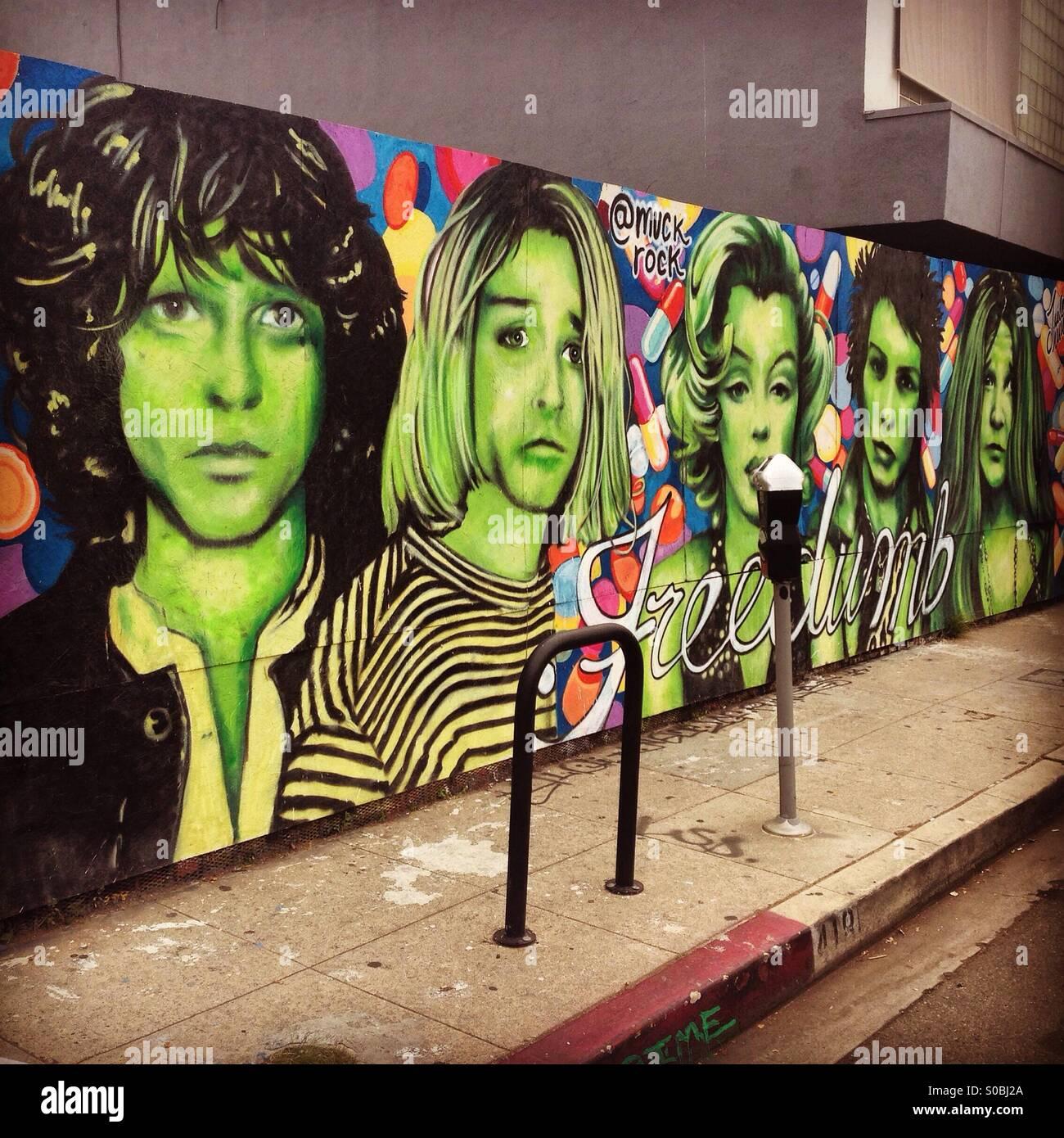 Rock Legends Street Art Stock Photo