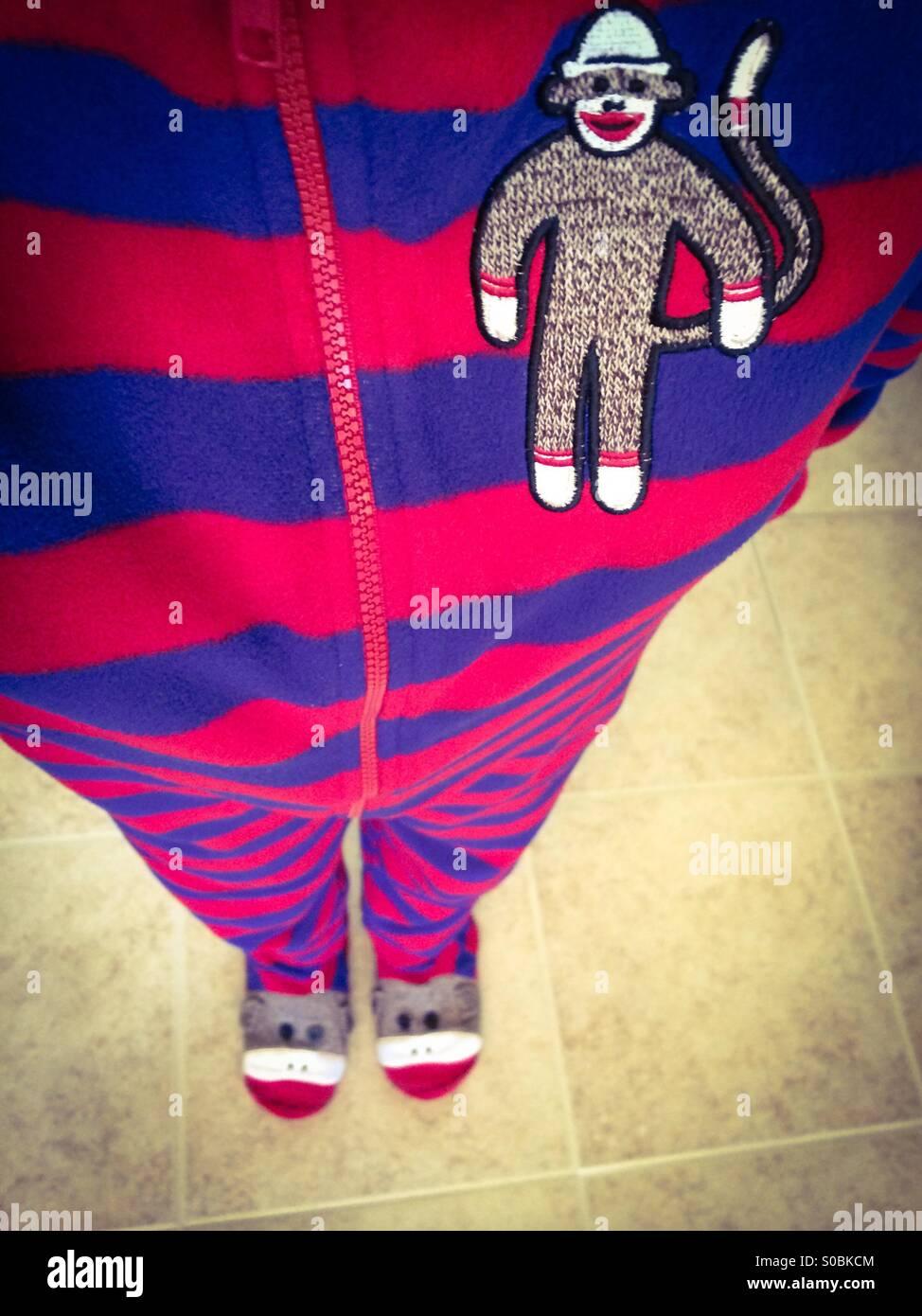 Monkey suit pajamas selfie - Stock Image