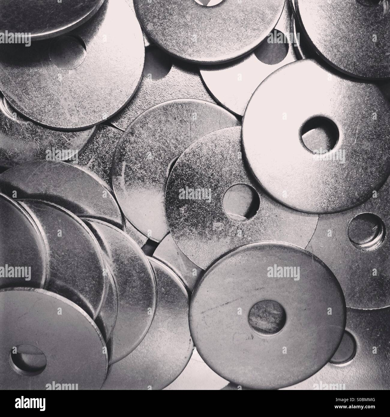 Steel washers one inch - Stock Image