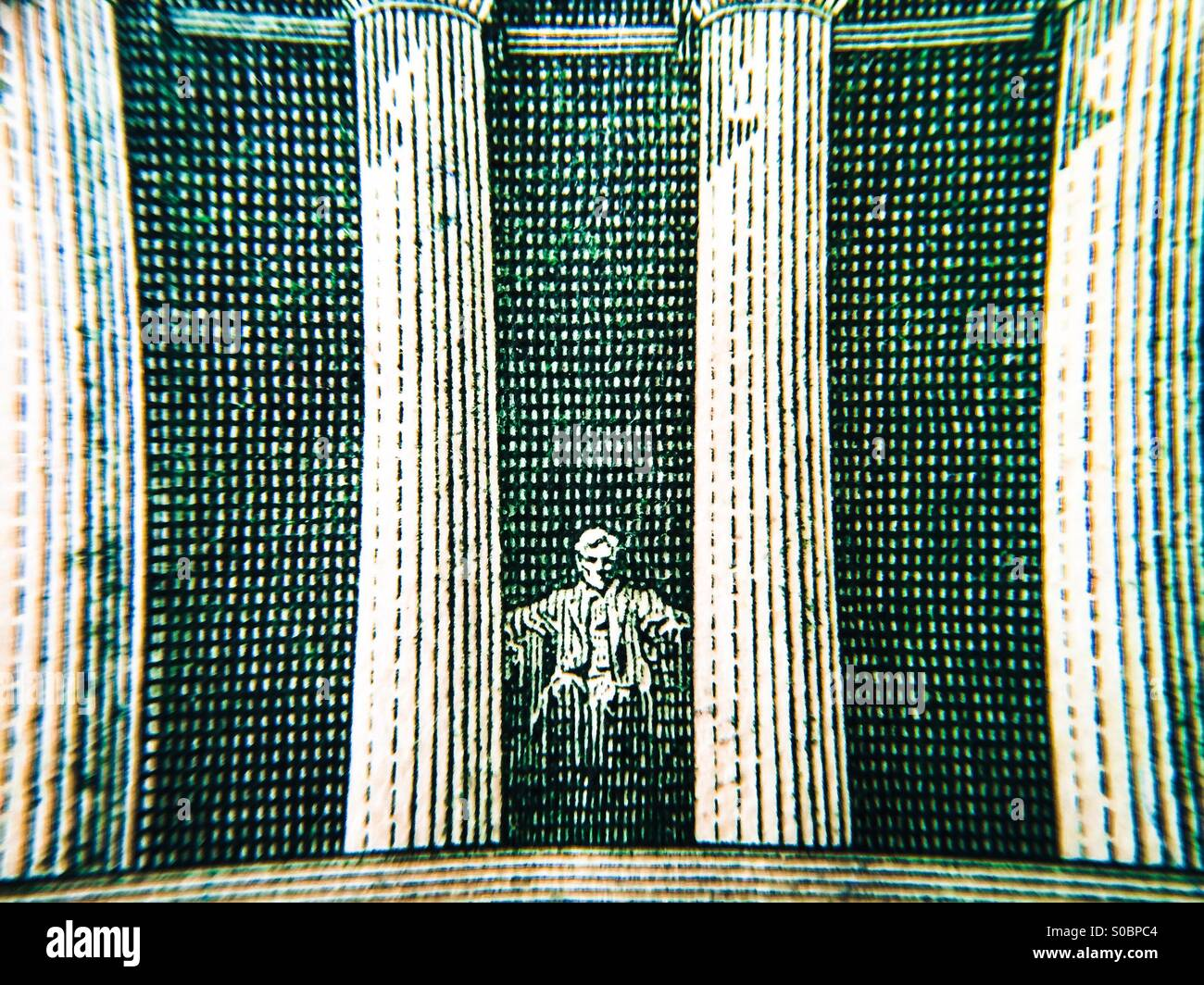 Macro View Of The Lincoln Memorial On The Back Of A Five Dollar Bill