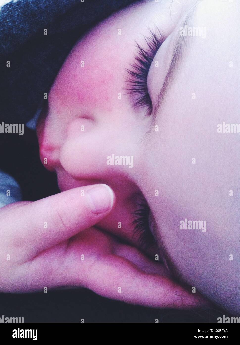 Sleepy baby - Stock Image