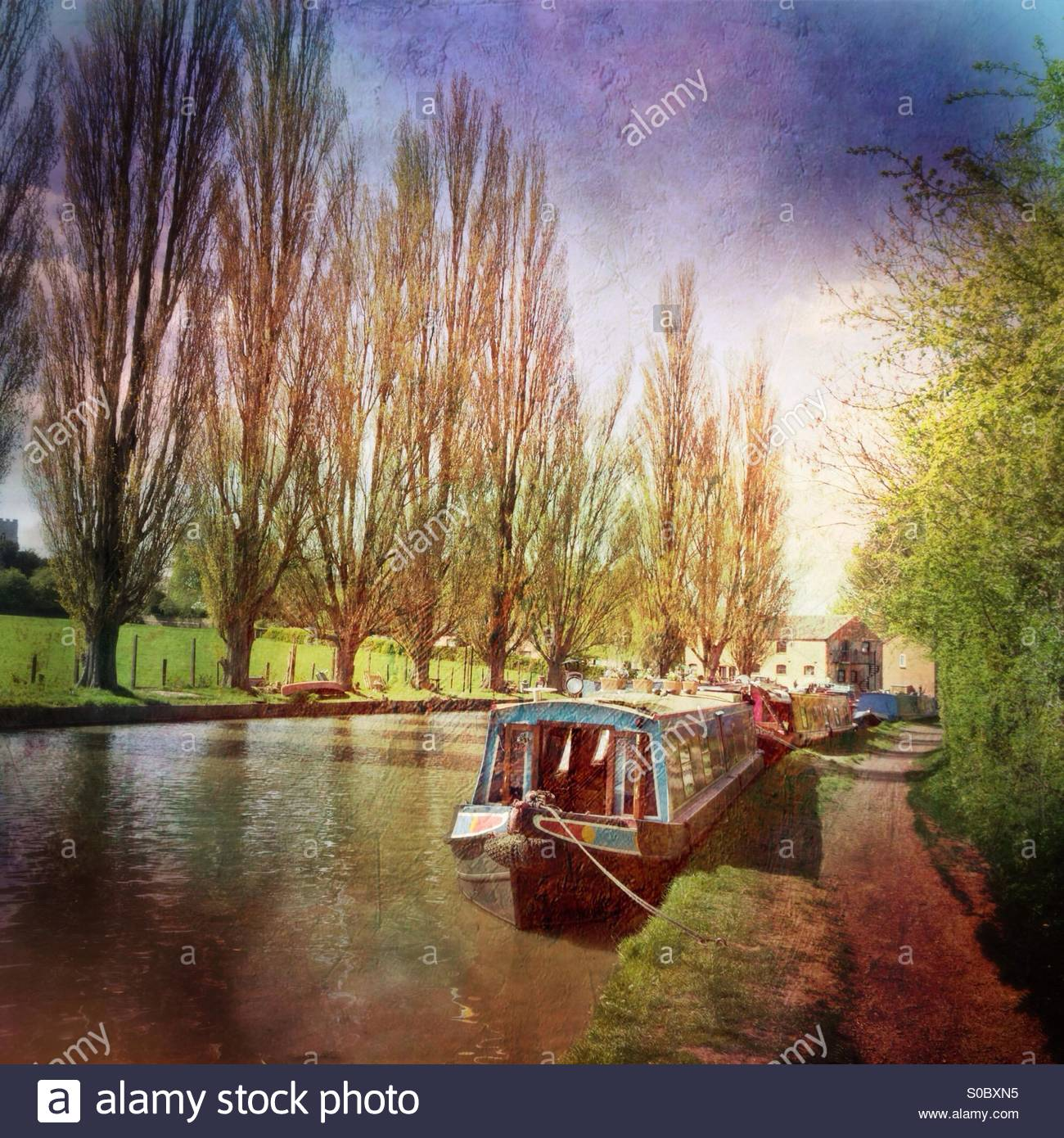 Narrowboats on the Grand Union Canal at Cosgrove, Northamptonshire - Stock Image