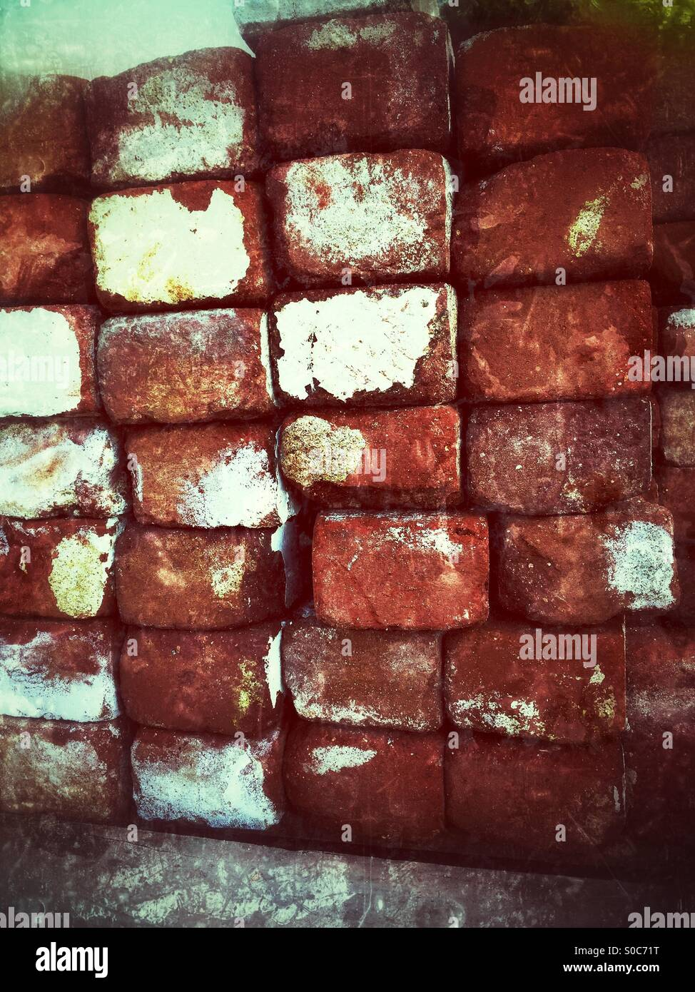 Stacks Of Used Red Bricks For Construction, Walls, Steps, And Walkways - Stock Image
