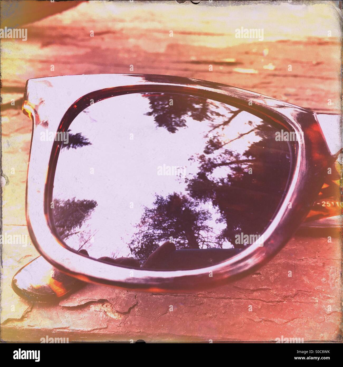 The Uinta National Forest is reflected in a pair of wayfarer sunglasses. - Stock Image