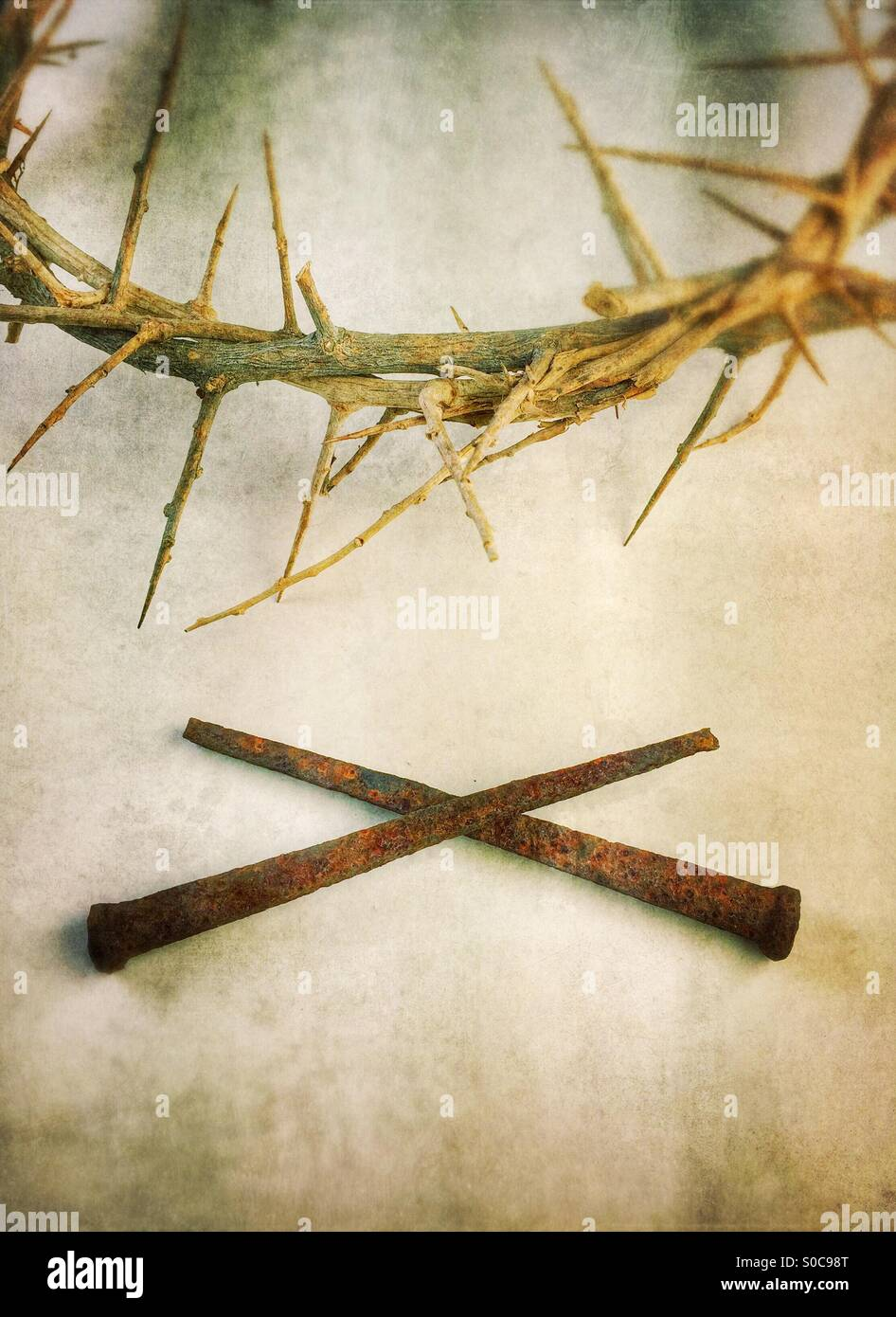 Crown of thorns with nails. - Stock Image