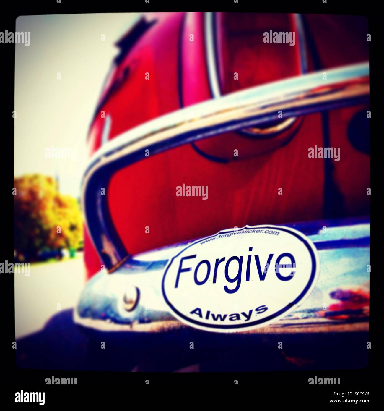 Forgive Always car bumper sticker Volvo - Stock Image