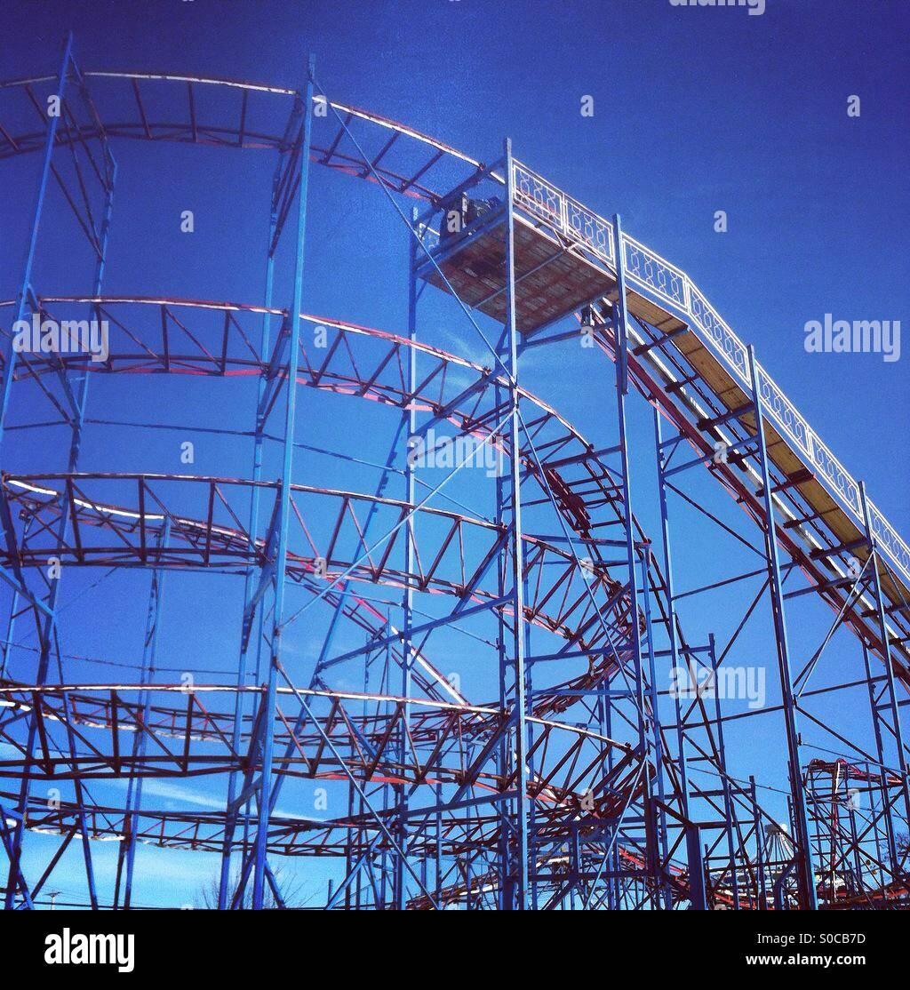 winter rollercoaster stock image