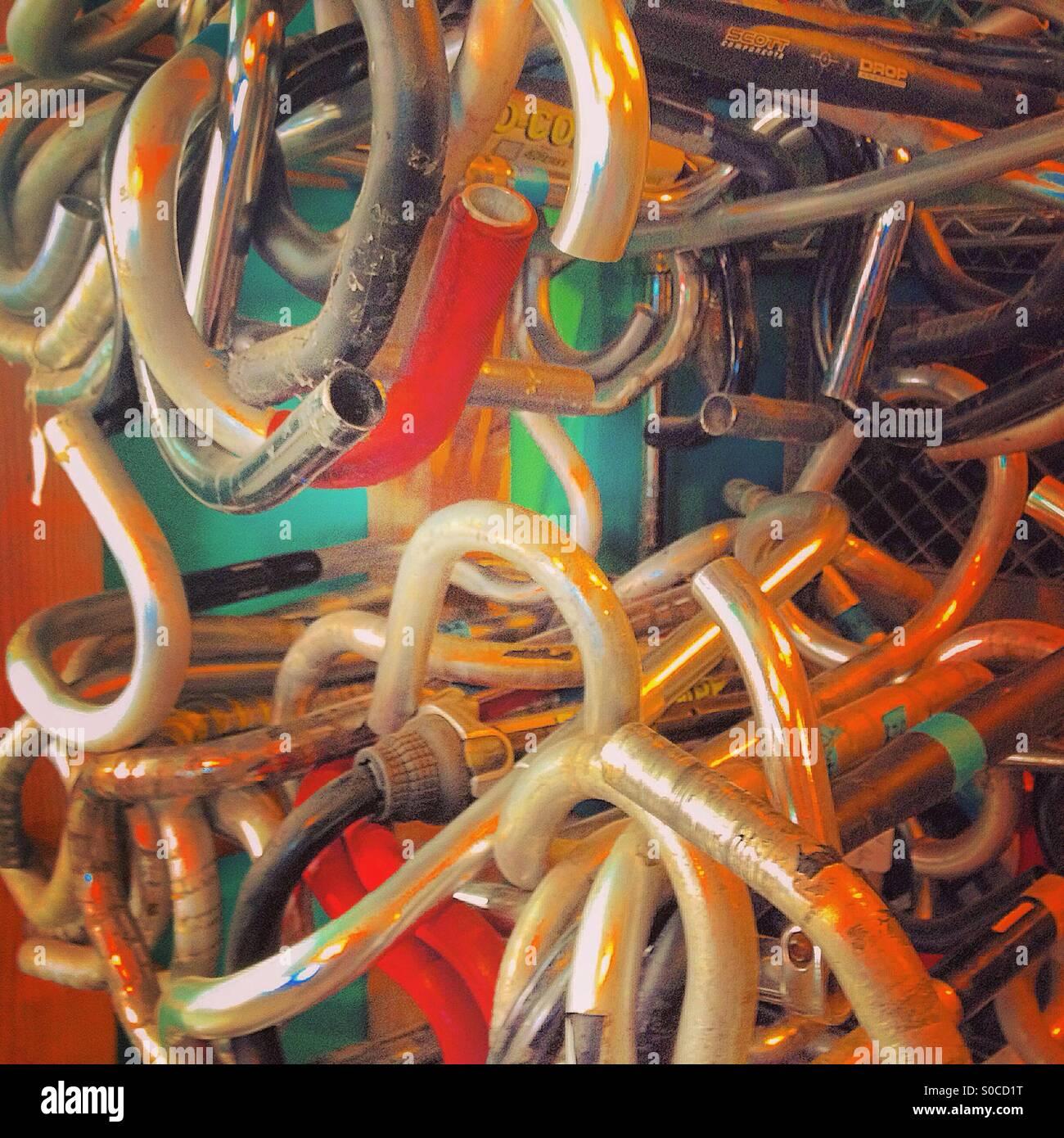 Bicycle handlebars hanging - Stock Image