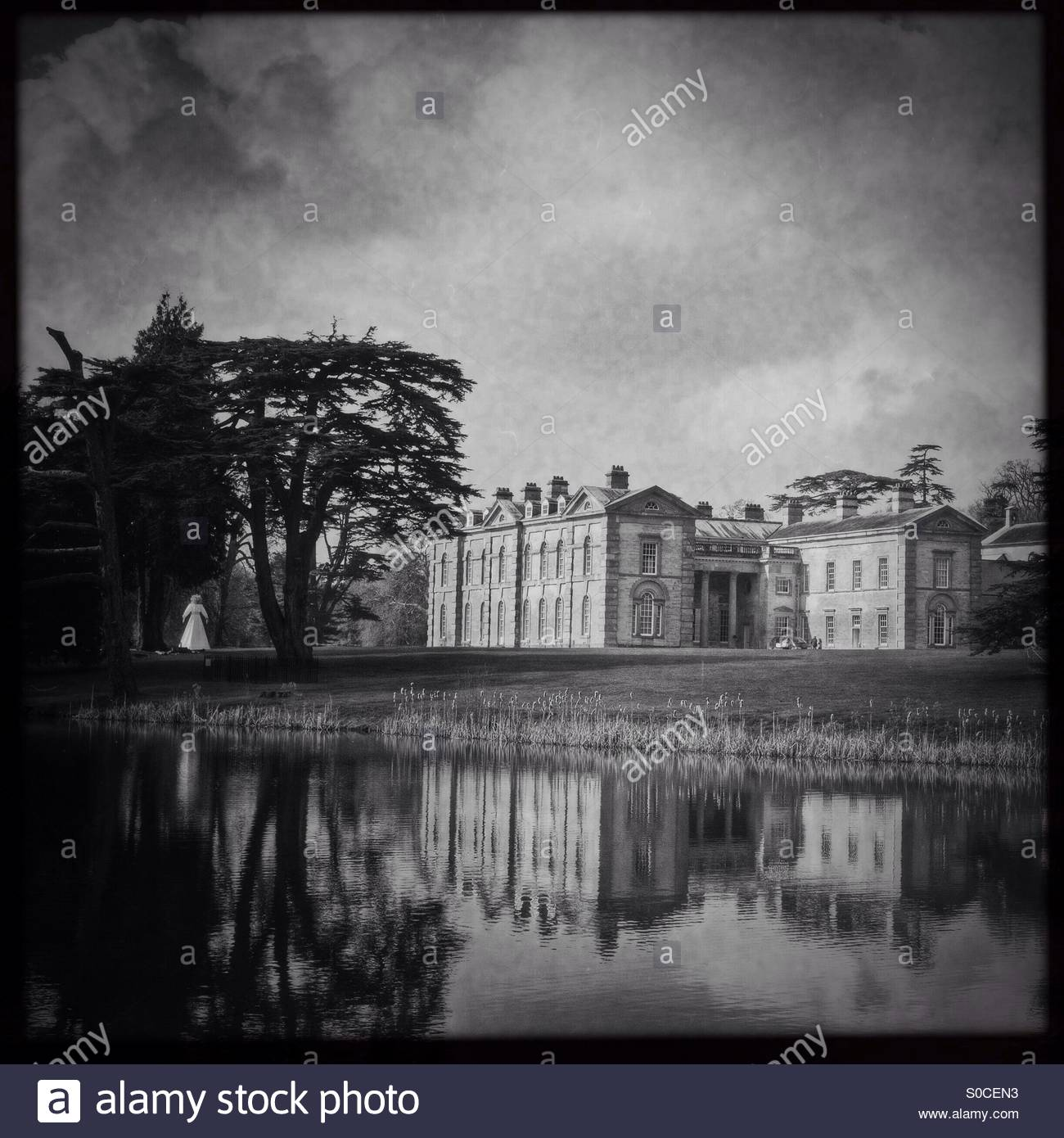 Compton Verney House, a monochrome view via Hipstamatic - Stock Image