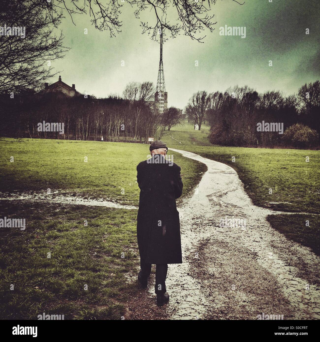 A man walking in the park at Alexandra Palace - Stock Image